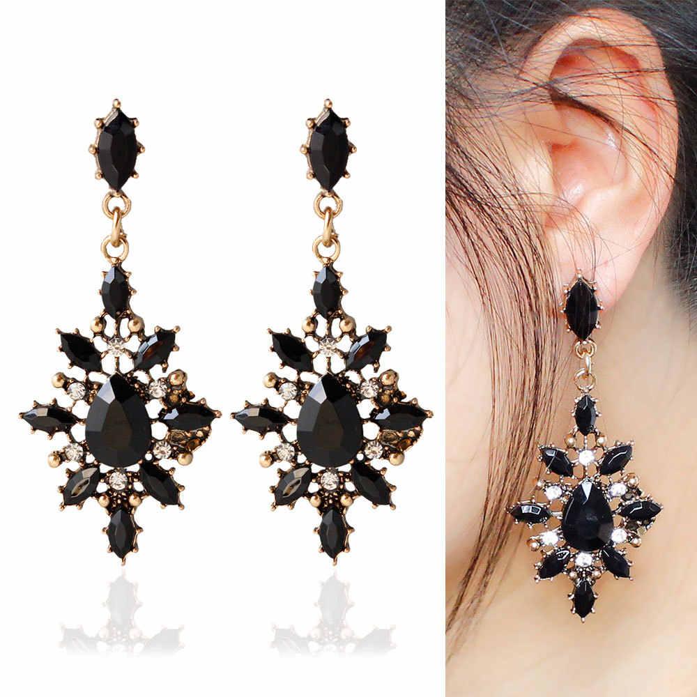 Длинное черное ожерелье с каплевидными кристаллами серьги CZ винтажный геометрический Золотой Стразы в виде капель Висячие серьги для женщин Brincos вечерние ювелирные изделия