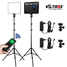 "VILROX 2pcs VL 200T Bi color Dimmable Wireless remote LED Video Light Panel Lighting Kit + 75"" Light Stand for studio shooting"