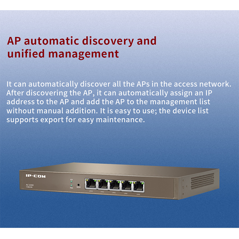 IPCOM AC1000 Gigabit AC Controller, AP Automatically Discover, AP and User Status Monitor,Centralized Management 4