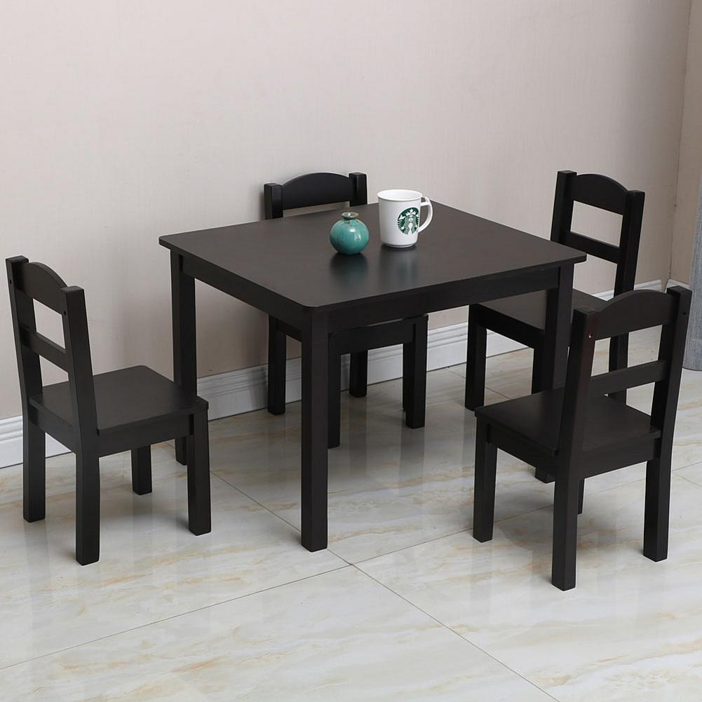 us 121 25 45 off 5 in 1 kids mdf pine dining table set wood table with 4 chairs room furniture kitchen espresso home kits usa warehouse shipping