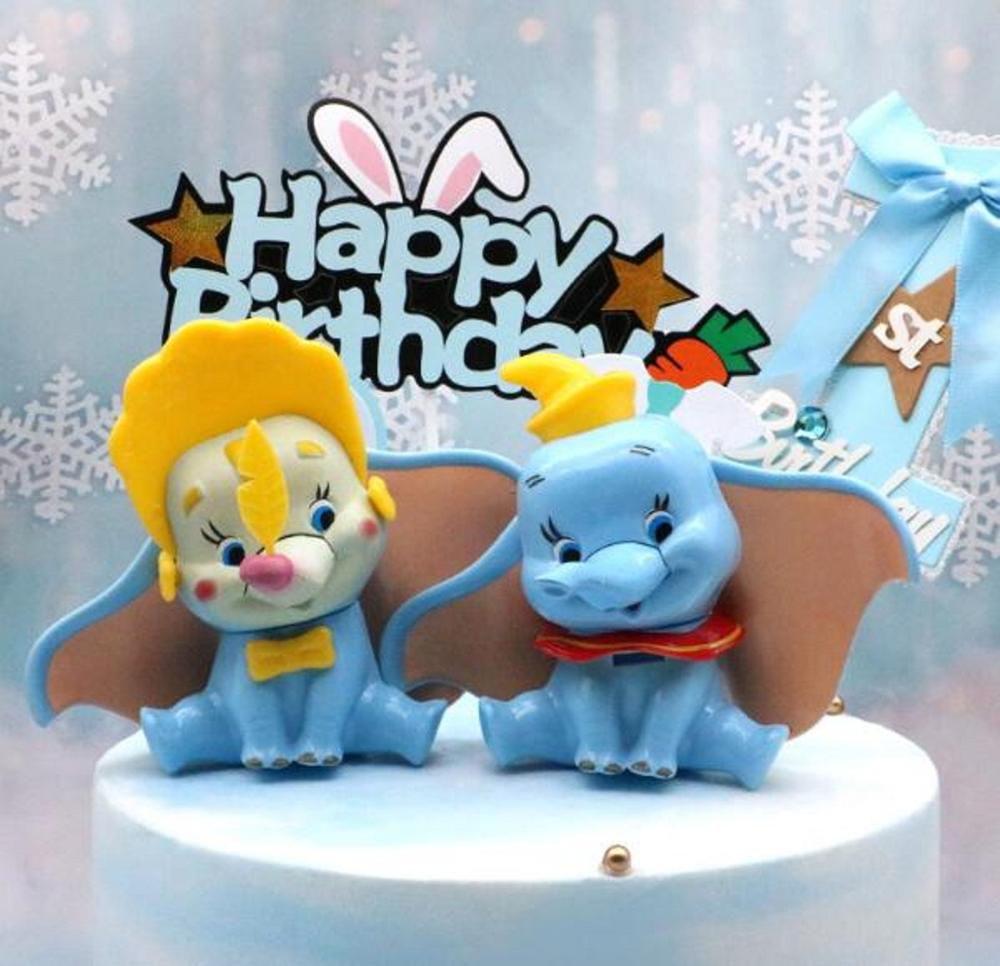 Disney Anime Dumbo Elephant Cartoon Decoration Figure 10cm PVC  Figurine Cake Toys Fans Children Birthday Party Christmas Gifts