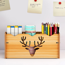 New Wood Pen Pencil Holder For Desk Kids Pencil Organizer Storage With 3 Adjustable Compartment Multi Use Stationery Case Home