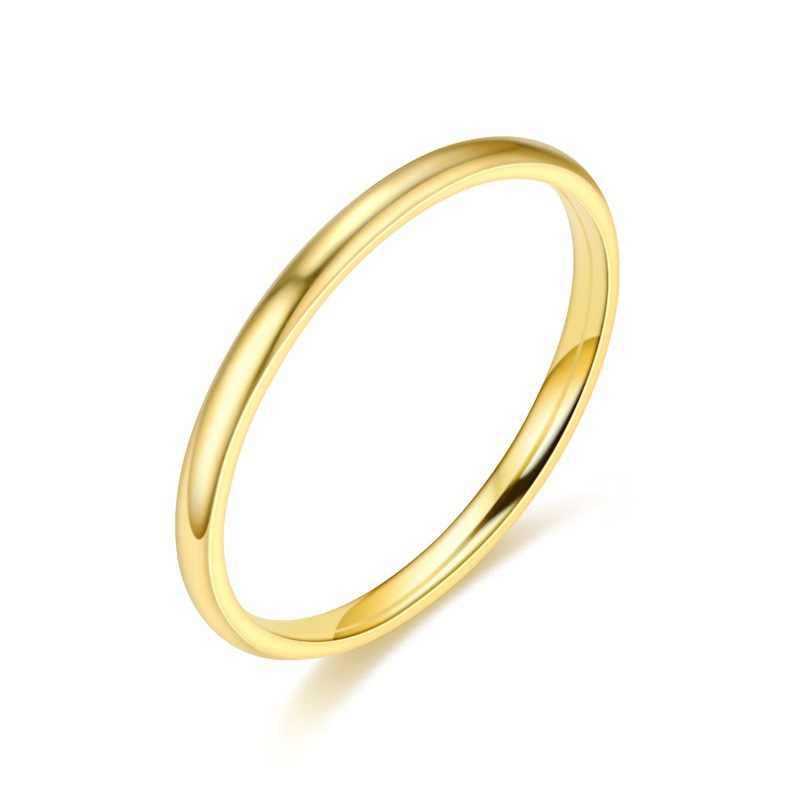Meetvii 2MM Thin Titanium Steel Emas & Hitam & Silver-Warna Cincin Pasangan Sederhana Fashion Rose Emas Jari cincin untuk Wanita dan Pria