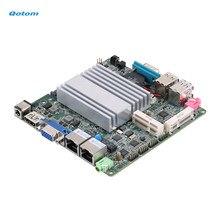 Qotom mini placa-mãe itx com processador celeron j1900 a bordo, quad core 2 ghz, até 2.42 ghz, placa-mãe lan dupla dc 12v