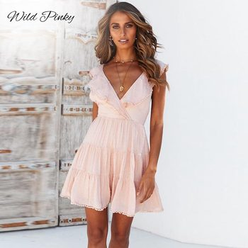 WildPinky Streetwear Women White Dress Sleeveless V-neck Ruffle Hollow Out Lady Summer Dress Cotton Sexy Mini Dress Vestidos burgundy cut out cold shoulder v neck mini dress