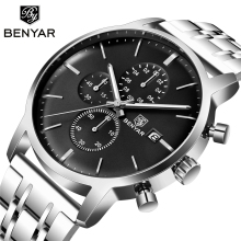 купить BENYAR 2019 New Men Watch Business Quartz Top Brand Luxury Casual Waterproof leather Sports Male Wristwatch Relogio masculino по цене 1497.37 рублей