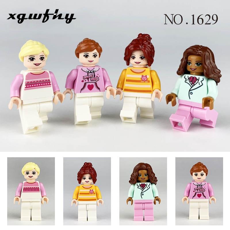 20 pçs pessoas série profissional menina blocos de construção lgo minifigure tijolo diy crianças brinquedos meninos crianças presentes natal 291