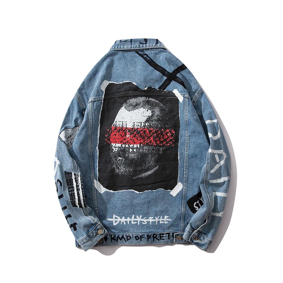 Harajuku Letter Character Mens Jeans Jacket Oversize Hip Hop Blue Jaqueta Masculino Denim Jacket Chaqueta Hombre Bomber Jacket
