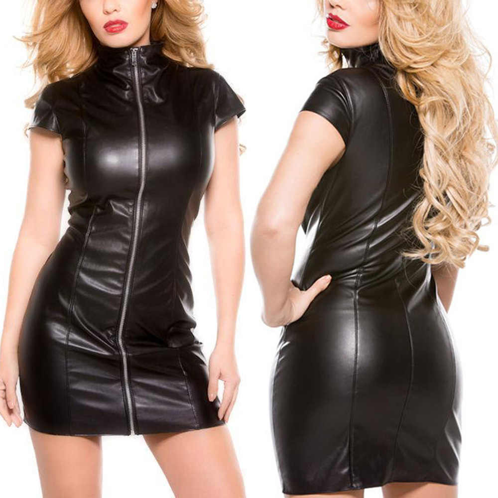 Real PU Leather Wetlook Rits Cap Sleeve Bodycon Mini Cocktail Club Party Jurken Vestidos