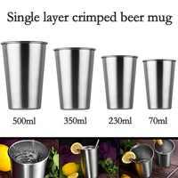 1 Uds nuevo de Metal de acero inoxidable taza vasos de cerveza de vidrio de vino blanco vaso tazas de leche de café y té de viaje al aire libre taza de Camping