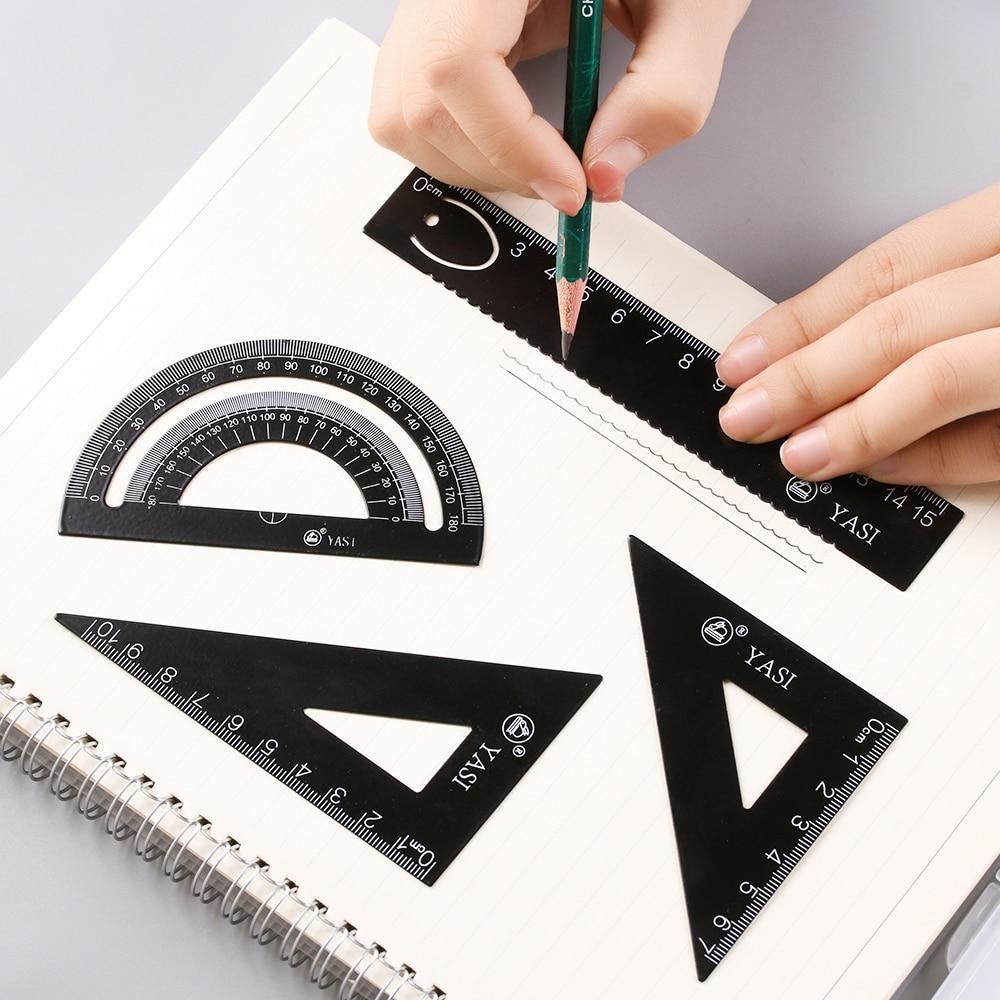 4Pcs//set Ruler Set Soft Straight Protractor Triangular Stationery Measuring Tool