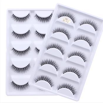 5 Pairs Multipack 3D Mink Lashes False Eyelashes Handmade Wispy Fluffy Fake Lash Natural Eye Makeup Tools Faux Eye Lashes H13 1