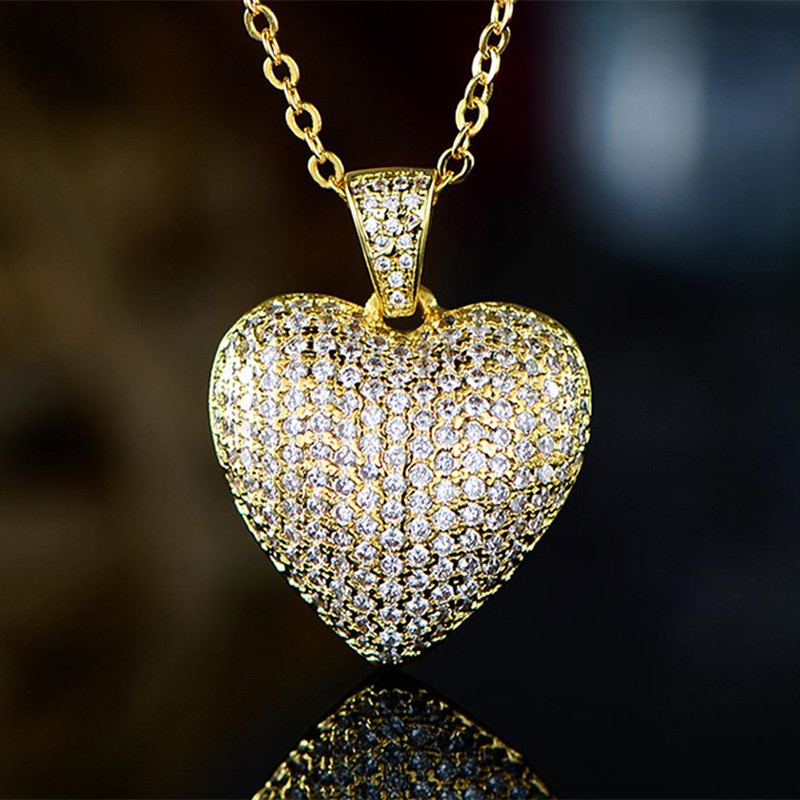 Modyle Dazzling Gold Color Full Paved CZ Heart Pendent Women Necklace Gorgeous Female Engagement Jewelry Necklaces Hot Selling