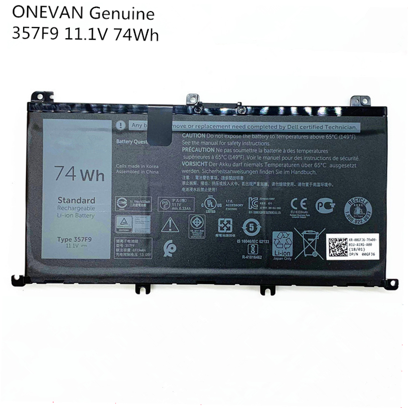 ONEVAN Genuine New 357F9 Laptop Battery For Dell Inspiron15 7559 7000 INS15PD-1548B INS15PD-1748B INS15PD-1848B INS15PD-2548R