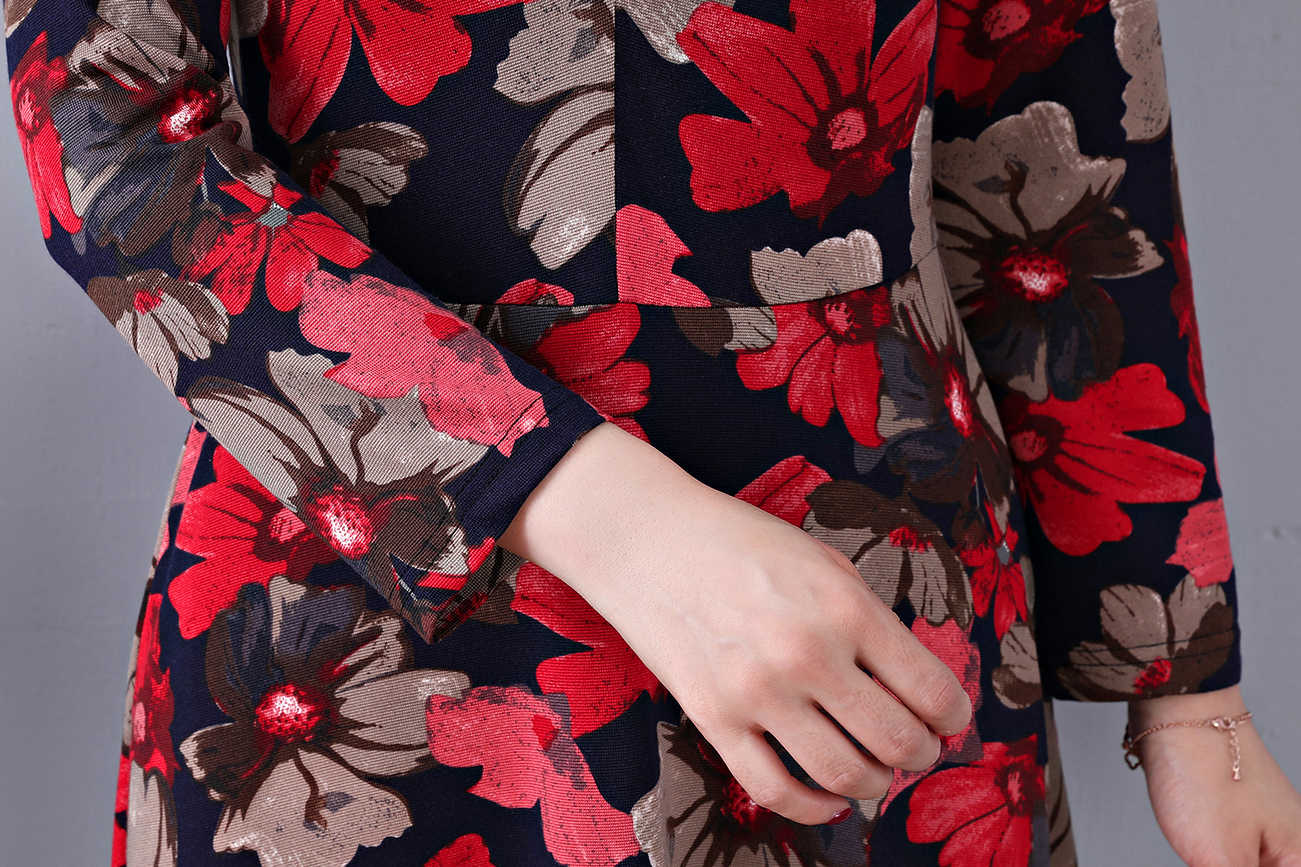 Hanqiyahuli impressão feminina vestido casual popular manga longa estilo vintage vestidos de festa feminino elegante maxi vestidos