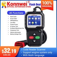Konnwei KW680 ماسح ضوئي للسيارة ، قارئ رمز متعدد اللغات ، obd2 ، وظيفة kw 680 ، ماسح ضوئي للسيارة الروسية ، pk AD310 OM123