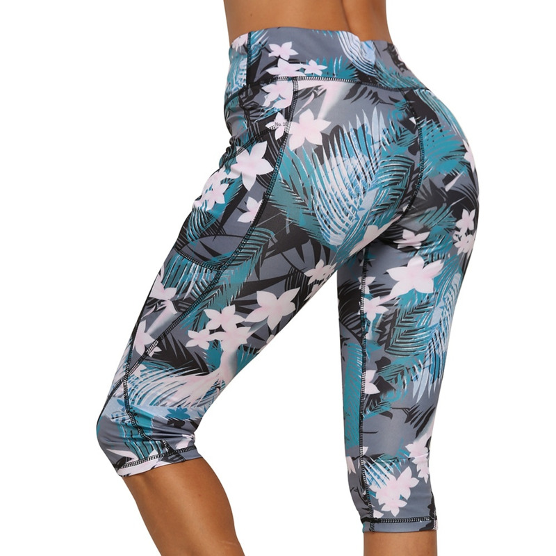 2019 Yoga Capris Running 3/4 Pants Women Gym Fitness Tights Compression Leggings With Pocket Sport Slimming High Waist Exercise