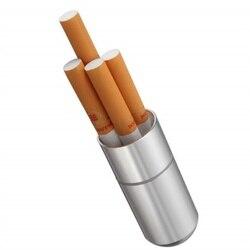 Srebrny papierośnica ze stopu aluminium wodoodporny 4 sztuk Cigarete Case Pill wykałaczka uchwyt kapsuły z pęku kluczy mężczyzna prezent