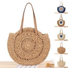 Round Straw Beach Bag Vintage Handmade Woven Shoulder Bag 2021 Summer Raffia Circle Rattan Bags Bohemian Vacation Casual Bags