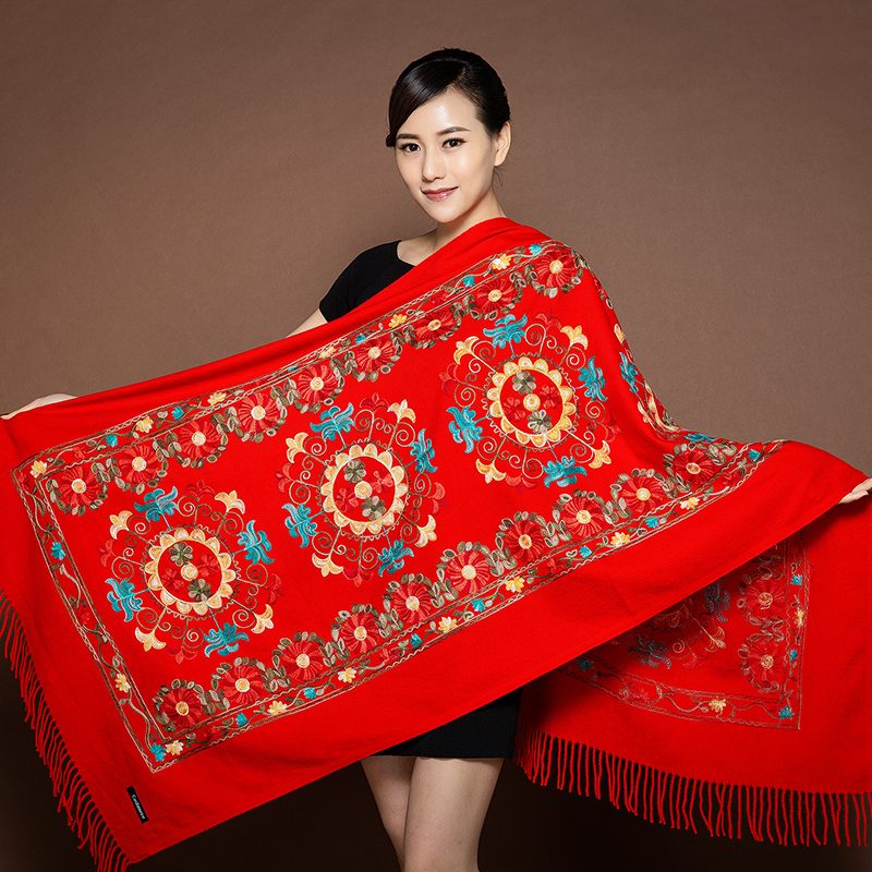 Wedding Evening Party Knitted pullover All-Match Scarf Shawl Floral Embroidery High-end atmosphere Wrap шарфы женские зимние