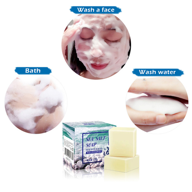 Goat Milk Sea Salt Soap Cleaner Removal Face Wash Pimple Pores Acne Treatment Moisturizing Whitening Soap Base Skin Care TSLM1 4