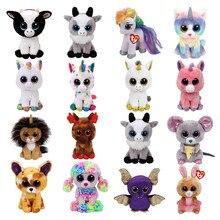 Ty Beanie-animales de peluche con dibujos de unicornios, gatos, vacas, flamencos, animales, zorro, búho, perro, Reno, León, ratón, conejito, juguetes de 15cm