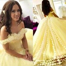 Eleganckie żółte sukienki Quinceanera Off The Shoulder 3D kwiatowe aplikacje suknie balowe 2019 New Arrival Sweet 16 sukienka tanie Prom