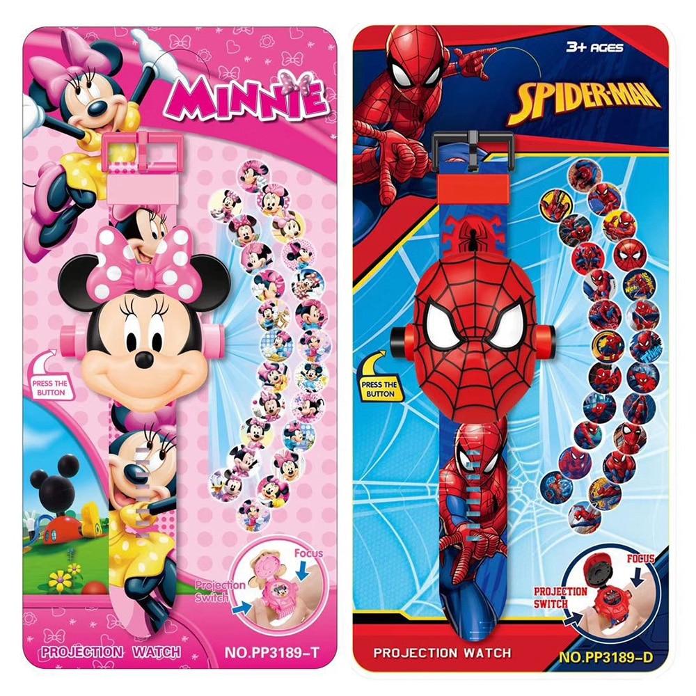3D Cartoon Children Watches Iron Man Spider-Man MINNIE Hello Kitty Minion Anime Figure Small Kids Boys Girls Clock Toys