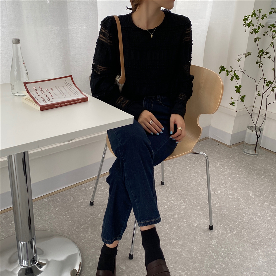 H662eed7913e74efcbcd94919ee1f4661d - Spring / Autumn Korean O-Neck Long Sleeves Solid Lace Blouse