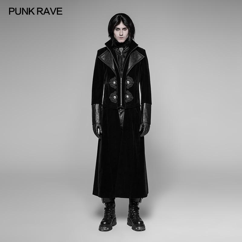 Punk Rave Mens Steampunk Military Coat Long Jacket Black Pinstripe Gothic VTG