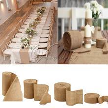 Tejido de yute y arpillera Natural, 10 metros, rollo de yute, arpillera, Rollo de cinta, camino de mesa, suministros de decoración para Navidad, fiesta de boda