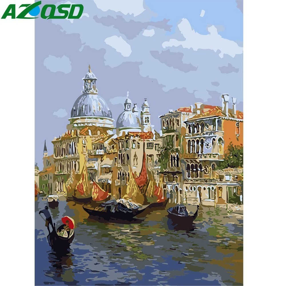 AZQSD Water Venice Painting By Numbers DIY Paint Canvas Picture Hand Painted Oil Painting Sea City Scenery Home Decoration K335
