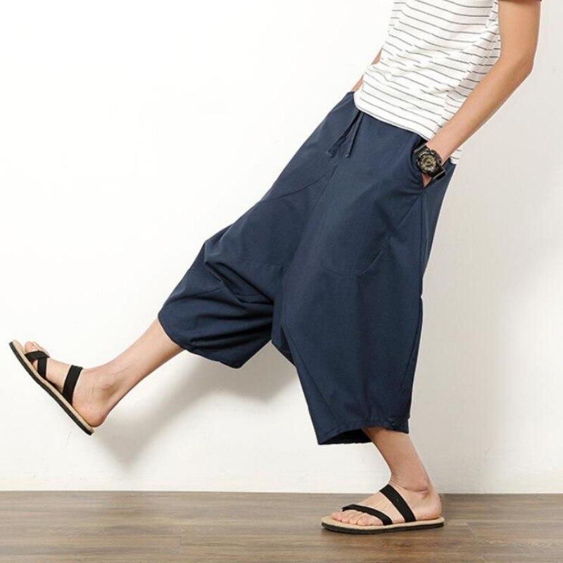 Summer Men's Japanese Samurai Boho Summer Harem Shorts Hakama Linen Cotton Pants 5 Colors Loose Fit Short Pants Big Size
