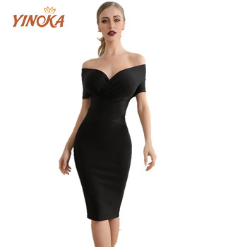Yinoka sexy bandage dresses sequin midi elegant off shoulder black evening bodycon dress 2020 summer night celebrity  clubwear