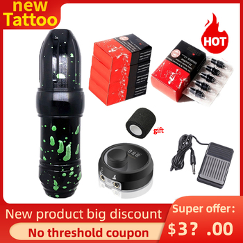 Tatto Machine Make Logo Tattoo Pen Rotary Tattoo Machine with RCA Cord Permanent Makeup Machine Tattoo Gun Strong Motor Tattoo alloy rotary makeup tattoo pen machine motor guns tattoo studio gourd rotary machine rca cord for tattoo permanent makeup