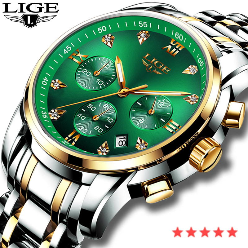LIGE Fashion Mens Watches Top Luxury Brand Military Sports Stainless Steel Waterproof Watch Men Chronograph Relogio Masculino