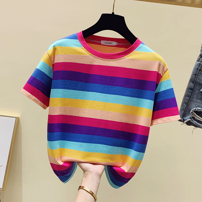 Short Sleeved  2020 New Style Super Hot SellingTop Women's Striped Scheming Rainbow Women's Design Non-mainstream T-shirt