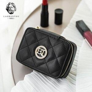 Image 2 - LAORENTOU bolso de pintalabios para niña, bolso de cuero femenino para cosméticos, pendiente elegante bolso de espejo para mujer, estuche cosmético para mujer, monedero para Pintalabios