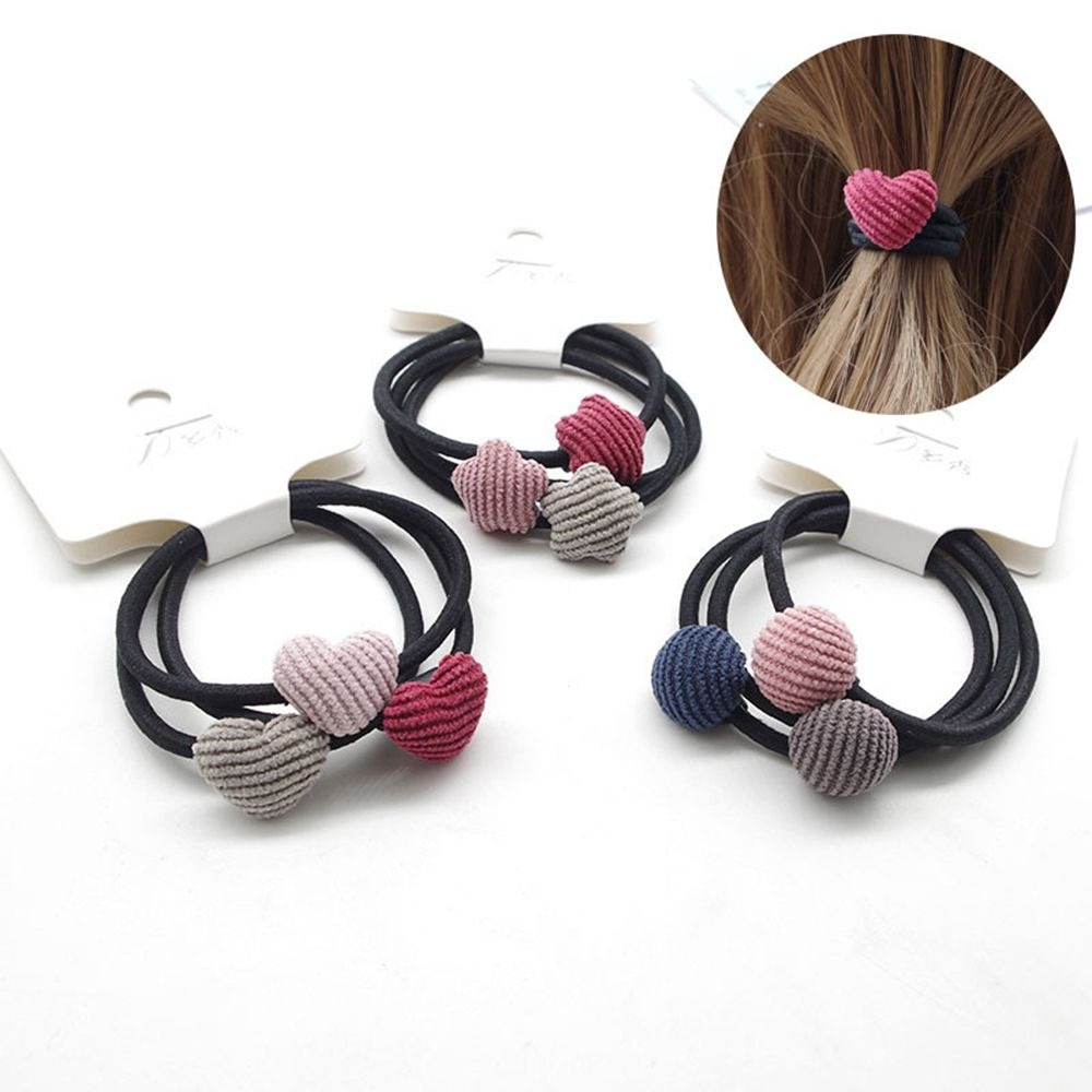 Lot 3pcs/set Girl Star Heart Round Cloth Buckle Rubber Band Hair Rope Headband Girls Elastic Braider Accessories
