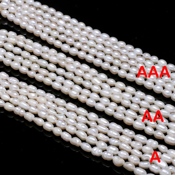 Natural Freshwater Pearl Beads High Quality Rice Shape Punch Loose Beads for DIY Elegant Necklace Bracelet Jewelry Making 4-5MM baroqueonly naked pair beads purple big size high quality flat beads natural fresh water pearl for earring making bcz 2