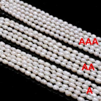 цена Natural Freshwater Pearl Beads High Quality Rice Shape Punch Loose Beads for DIY Elegant Necklace Bracelet Jewelry Making 4-5MM онлайн в 2017 году