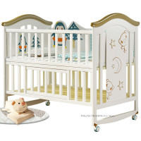 Larger Size Wood Baby Crib, can Convert to Elder Kids Bed, 124*68*105cm, Multifunctional Newborn Cot can Joint With Adult Bed