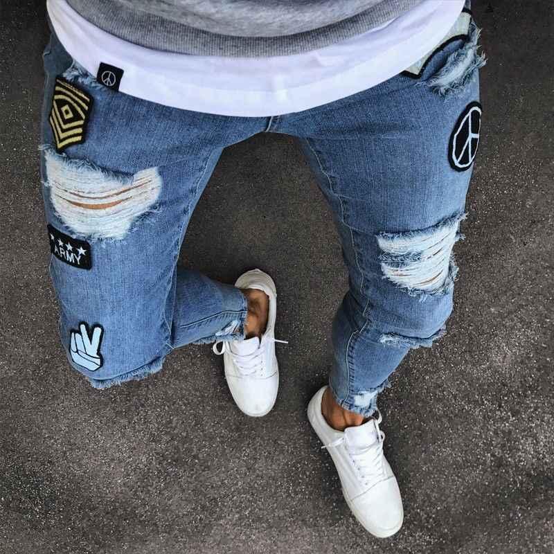 Nieuwe Mode Heren Skinny Jeans Rip Slim Fit Stretch Denim Distress Verzwakte Biker Scratchted Hollow Out Lange Jeans Jongen Zone