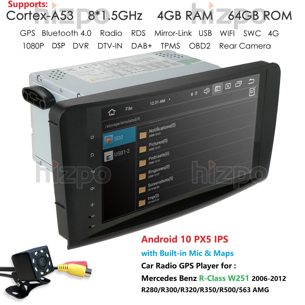 """In Stock 9"""" Android 10 Car NODVD Player For Mercedes Benz R-Class W251 2006-2012 Wifi 4G GPS Bluetooth Radio Stereo audio media"""