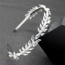 gold Rhinestone leaf Crown Headband Vintage Crystal Bridal Tiaras Wedding Hair Jewelry Leaves Princess Diadem for Women(China)