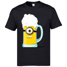 Beerions Minion Bir Dicetak Di T Shirt Pokemon Hot Sale Khusus O Leher Desain Pure Katun T Shirt Lucu kartun(China)