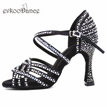 Evkoodance Dancing Shoes 10cm Heel Height Red Satin With Rhinostone Professional Size US 4-12 For Women Evkoo-543