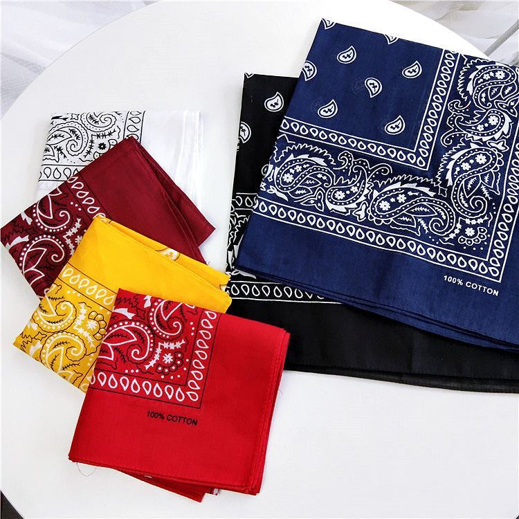 Women Square Hair Scarf Cotton Bandana Rock Cool Girls Print Unisex Hip Hop Headwear Neck Head Kerchief Band Face Scarves