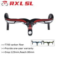 RXL SL 28.6mm Road Bike Carbon Handlebar 400/420/440mm Integrated Wtih Stem Handlebar For Bicycle 3K Glossy Drop Handle Bar