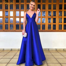 BeryLove Royal Blue Evening Dress 2019 Sexy Spaghetti Straps vestidos de fiesta V Neck Open Back robe de soiree Long Prom Gowns sexy formal dress women elegant vestidos de fiesta applique open back v neck spaghetti straps satin mermaid evening dress 2019
